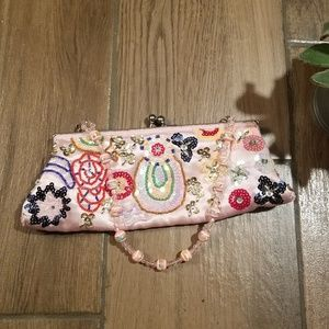 Vintage kawaii beaded satin purse pink sequin